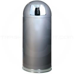 "Rubbermaid / United Receptacle R1536SM Econo Line Bullet Trash Can - 15 Gallon Capacity - 15"" Dia. x 36"" H - Silver Metallic in Color"