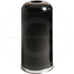 "Rubbermaid FGR32EGLBK Econo Line Open Dome Top Waste Receptacle - 15 Gallon Capacity - 15"" Dia. x 32"" H - Black in Color"