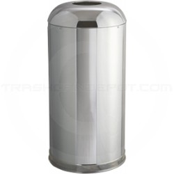 "Rubbermaid FGR32MCGL Econo Line Open Dome Top Waste Receptacle - 15 Gallon Capacity - 15"" Dia. x 32"" H - Mirror Chrome in Color"