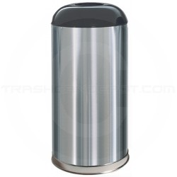 "Rubbermaid FGR32SSSGL Econo Line Open Dome Top Waste Receptacle - 15 Gallon Capacity - 15"" Dia. x 32"" H - Satin Stainless with Black Top"