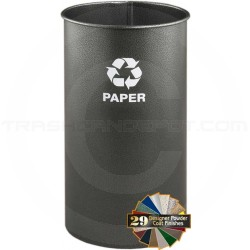"""Glaro RO1121SV RecyclePro Recycling Wastebasket - 9 Gallon Capacity - 11"""" Dia. x 21"""" H - Silver Vein in Color"""