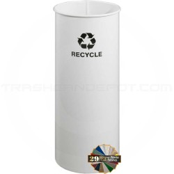"Glaro RO1127WH RecyclePro Recycling Wastebasket - 11 Gallon Capacity - 11"" Dia. x 28"" H - White in Color"