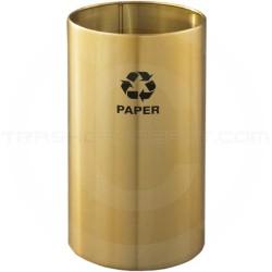 "Glaro RO1223BE RecyclePro Recycling Wastebasket - 11 Gallon Capacity - 12"" Dia. x 23"" H - Satin Brass"