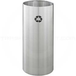 """Glaro RO1229SA RecyclePro Recycling Wastebasket - 14 Gallon Capacity - 12"""" Dia. x 29"""" H - Satin Aluminum"""