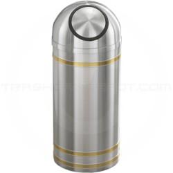 "Glaro S1234SA Capri WasteMaster Dome Top Waste Can - 8 Gallon Capacity - 12"" Dia. x 30"" H - Satin Aluminum with Satin Brass Bands"