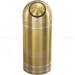 "Glaro S1534BE Capri WasteMaster Dome Top Waste Can - 16 Gallon Capacity - 15"" Dia. x 36"" H - Satin Brass with Satin Aluminum Bands"