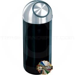 "Glaro S1536 Mount Everest Dome Top Trash Bin - 16 Gallon Capacity - 15"" Dia. x 36"" H - Satin Aluminum Cover"