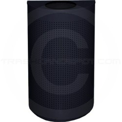 "Rubbermaid / United Receptacle SH12EPLTBK Designer Line Silhouette Open Top Half Round - 12 Gallon Capacity - 18"" W x 32"" H x 9"" D - Textured Black"