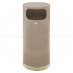 "Rubbermaid FGSO17SBBRGL Crowne Collection Waste Receptacle - 15 Gallon Capacity - 15"" Dia. x 33 1/2"" H - Textured Brown Body with Brass Accents"