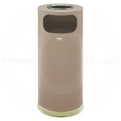 """Rubbermaid FGSO17SUSBBRGL Crowne Collection Ash/Trash Receptacle - 15 Gallon Capacity - 15"""" Dia. x 33 1/2"""" H - Textured Brown Body with Brass Accents"""