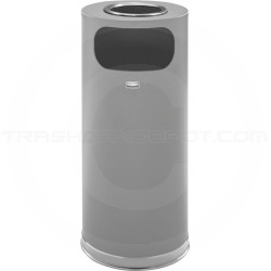 "Rubbermaid FGSO17SUSCGRGL Crowne Collection Ash/Trash Receptacle - 15 Gallon Capacity - 15"" Dia. x 33 1/2"" H - Textured Gray Body with Chrome Accents"