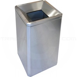 """Imprezza SQSSFT24 Funnel Top Square Trash Can - 24 Gallon Capacity -  17 3/8"""" Sq. x 29 5/8"""" H - Stainless Steel"""