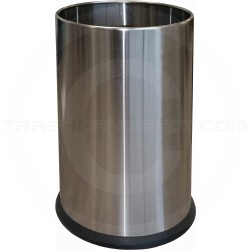"Imprezza SSWB25SS Round Wastebasket with Ring - 2 1/2 Gallon Capacity - 7 5/8"" Dia. x 12"" H - Stainless Steel"