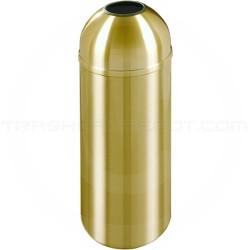 "Glaro T1230BE Atlantis WasteMaster Open Dome Top Garbage Can - 8 Gallon Capacity - 12"" Dia. x 30"" H - All-Weather Satin Brass"