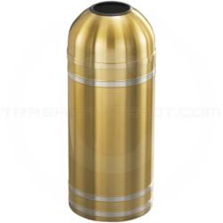 "Glaro T1234BE Capri WasteMaster Open Dome Top Trash Can - 8 Gallon Capacity - 12"" Dia. x 30"" H - Satin Brass with Satin Aluminum Bands"