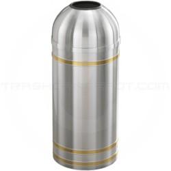 "Glaro T1234SA Capri WasteMaster Open Dome Top Trash Can - 8 Gallon Capacity - 12"" Dia. x 30"" H - Satin Aluminum with Satin Brass Bands"