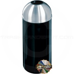 "Glaro T1536 Mount Everest Open Dome Top Trash Bin - 16 Gallon Capacity - 15"" Dia. x 36"" H - Satin Aluminum Cover"