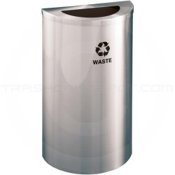 "Glaro T1899SA RecyclePro Half Round Receptacle with Half Moon Lid - 14 Gallon Capacity - 30"" H x 18"" W x 9"" D - Satin Aluminum"