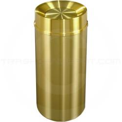 "Glaro TA1533BE Atlantis All Weather WasteMaster Tip Action Self Closing Waste Receptacle - 16 Gallon Capacity - 15"" Dia. x 33"" H - All-Weather Satin Brass"