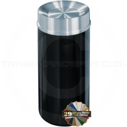 "Glaro TA1533 Mount Everest Tip Action Self Closing Trash Container - 16 Gallon Capacity - 15"" Dia. x 33"" H - Satin Aluminum Cover"