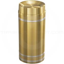 "Glaro TA1534BE Capri WasteMaster Tip Action Top Garbage Can - 16 Gallon Capacity - 15"" Dia. x 34"" H - Satin Brass with Satin Aluminum Bands"