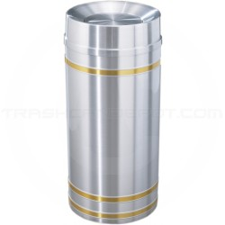 "Glaro TA1534SA Capri WasteMaster Tip Action Top Garbage Can - 16 Gallon Capacity - 15"" Dia. x 34"" H - Satin Aluminum with Satin Brass Bands"