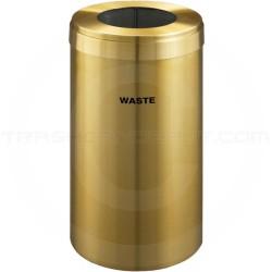 "Glaro W1542BE RecyclePro Single Unit Recycling Bin with Large Round Hole - 23 Gallon Capacity - 15"" Dia. x 30"" H - Satin Brass"