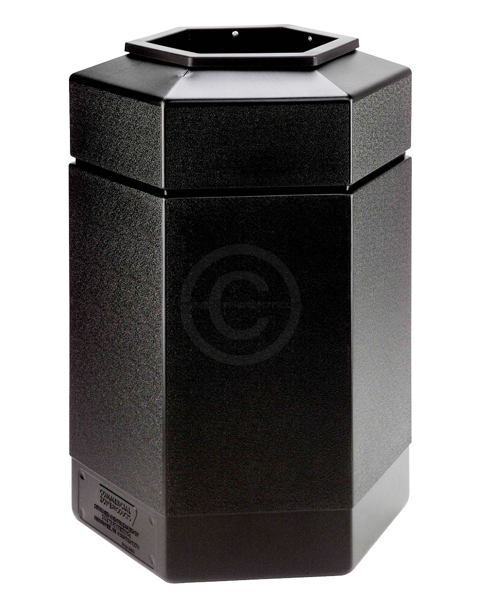 commercial zone hexagon trash can 30 gallon capacity 29 h x 20 w x 17 1 4 d black in color. Black Bedroom Furniture Sets. Home Design Ideas