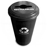 "Witt Industries 10/1CTBK Tall Round Recycling Wastebasket with Combination Round/Slot Opening - 80 quart capacity - 16"" Dia. x 30"" H - Black in Color"