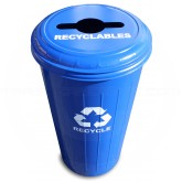"Witt Industries 10/1CTDB Tall Round Recycling Wastebasket with Combination Round/Slot Opening - 80 quart capacity - 16"" Dia. x 30"" H - Blue in Color"