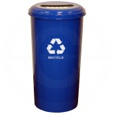 "Witt Industries 10/1STDB Tall Round Recycling Wastebasket with 8"" Slot Opening - 80 quart capacity - 16"" Dia. x 30"" H - Blue in Color"