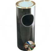 "Glaro 141 Mount Everest Ash/Trash Receptacle with Sand Tray Top - 3 Gallon Capacity - 9"" Dia. x 23"" H - Satin Brass Cover"