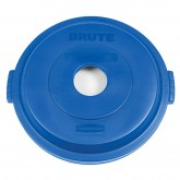 "Rubbermaid 1788376 BRUTE Bottle/Can Recycling Top for 32 Gallon Brute Containers - 22 1/4"" Dia. x 2 3/4"" H - Blue in Color"
