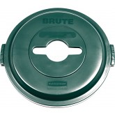 "Rubbermaid 1788471 BRUTE Single Stream Recycling Top for 32 Gallon Brute Containers - 22 1/4"" Dia. x 2 3/4"" H - Dark Green in Color"