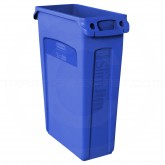 "Rubbermaid 1835530 Slim Jim Waste Container with Venting Channels - 23 Gallon Capacity - 22"" L x 11"" W x 30"" H - Blue in Color"