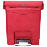 Rubbermaid 1883563 Slim Jim Plastic Front Step-On Receptacle - 4 Gallon Capacity - Red in Color