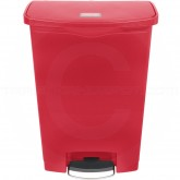 Rubbermaid 1883570 Slim Jim Plastic Front Step-On Receptacle - 24 Gallon Capacity - Red in Color