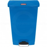 Rubbermaid 1883597 Slim Jim Plastic Front Step-On Receptacle - 24 Gallon Capacity - Blue in Color