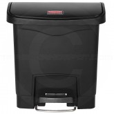 Rubbermaid 1883608 Slim Jim Plastic Front Step-On Receptacle - 4 Gallon Capacity - Black in Color