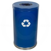 "Witt Industries 18RTBL-1H Single Stream Recycling Container - 35 Gallon Capacity - 18"" Dia. x 33"" H - Blue in Color"