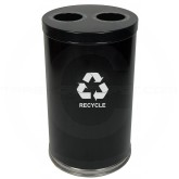 "Witt Industries 18RTBK-2H Dual Stream Recycling Container - 36 Gallon Capacity - 18"" Dia. x 33"" H - Black in Color"