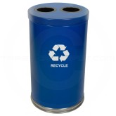 "Witt Industries 18RTBL-2H Dual Stream Recycling Container - 36 Gallon Capacity - 18"" Dia. x 33"" H - Blue in Color"