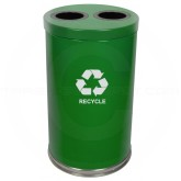 "Witt Industries 18RTGN-2H Dual Stream Recycling Container - 36 Gallon Capacity - 18"" Dia. x 33"" H - Green in Color"