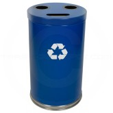 "Witt Industries 18RTBL Three Opening Recycling Container - 33 Gallon Capacity - 18"" Dia. x 33"" H - Blue in Color"