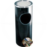 "Glaro 192 Mount Everest Ash/Trash Receptacle with Sand Tray Top - 3 Gallon Capacity - 9"" Dia. x 23"" H - Satin Aluminum Cover"