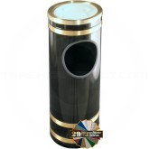 "Glaro 1955 Monte Carlo Sand Cover Ash/Trash Receptacle - 9"" Dia. x 23"" H - Satin Brass Accents"