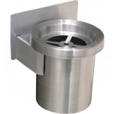"Glaro 201 Grill Top Wall Mounted Cigarette Receptacle - 4 1/2"" Dia. x 6"" H - Satin Aluminum Only"