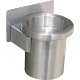 "Glaro 203 Sand Top Wall Mounted Cigarette Receptacle - 4 1/2"" Dia. x 6"" H - Satin Aluminum Only"