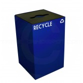 "Witt Industries 24GC04-BL GeoCube Recycling Bin with Combination Opening for Bottles, Cans and Paper - 24 Gallon Capacity - 15"" Sq. x 24"" H - Blue in Color"
