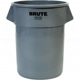 "Rubbermaid FG265500GRAY Round Brute Trash Can - 55 Gallon Capacity - 26 1/2"" Dia. x 33"" H - Gray in Color"
